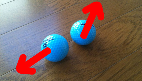 床にゴルフボールを置いてフローリングの不陸を発見する方法